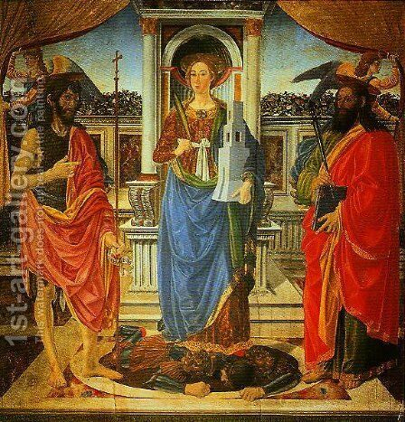 St Barbara between SS John the Bapist and Matthew by Cosimo Rosselli - Reproduction Oil Painting