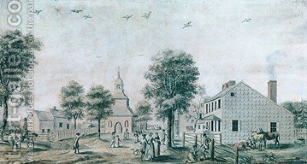 Brooklyn, Long Island (View of the Village Green) 1778 by Anonymous Artist - Reproduction Oil Painting