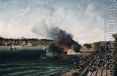 Burning of the Sidewheeler Henry Clay 1854 by Anonymous Artist - Reproduction Oil Painting