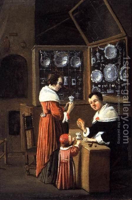 Interior of a Dutch Shop Selling Gold and Silver 1660 by Anonymous Artist - Reproduction Oil Painting