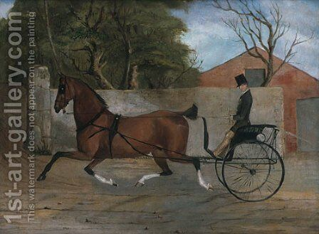 Portrait of a Gentleman in a Carriage 1850 by Anonymous Artist - Reproduction Oil Painting