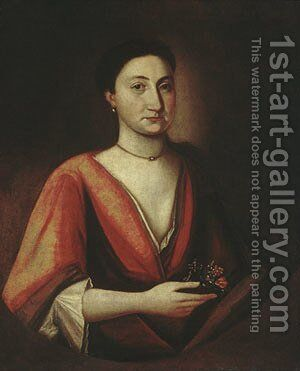 Portrait of a Lady (possibly Hannah Stillman) 1720 by Anonymous Artist - Reproduction Oil Painting