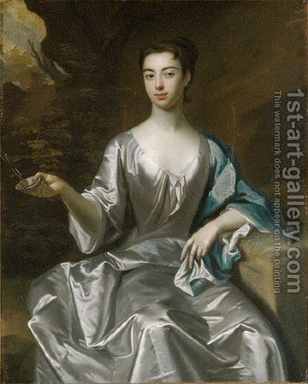 Portrait of a Woman called Maria Taylor Byrd 1700 1725 by Anonymous Artist - Reproduction Oil Painting