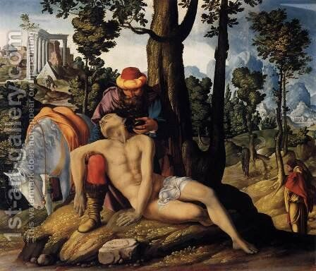 The Good Samaritan 1537 by Anonymous Artist - Reproduction Oil Painting