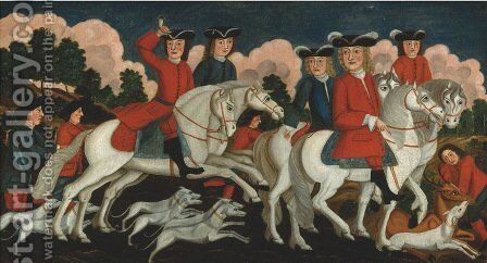 The Hunting Party New Jersey 1670 by Anonymous Artist - Reproduction Oil Painting