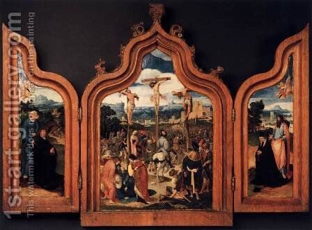 Triptych with the Crucifixion and Donors 1525 by Anonymous Artist - Reproduction Oil Painting
