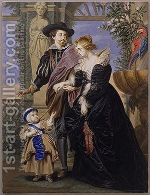 Rubens His Wife Helena Fourment and Their Son Peter Paul by Bernard III Lens - Reproduction Oil Painting
