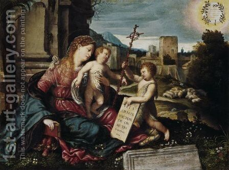 Madonna with Child and the Young St John c 1550 by Alessandro Bonvicino (Moretto da Brescia) - Reproduction Oil Painting
