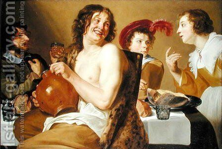 Figures eating and drinking around a table 1634 by Theodoor Rombouts - Reproduction Oil Painting