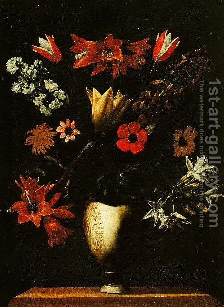 Vase with Crown Imperial Tulips and Anemones by Giuseppe Recco - Reproduction Oil Painting