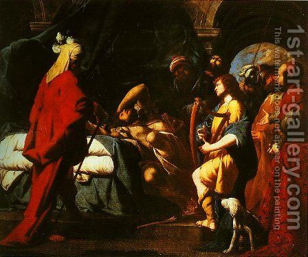 David Soothing Sauls Anguish with His Harp by Giovanni Battista Spinelli - Reproduction Oil Painting