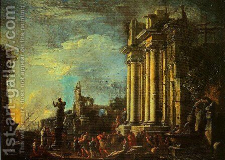 Landscape with Ruins and a Sacrificial Scene by Giovanni Ghisolfi - Reproduction Oil Painting
