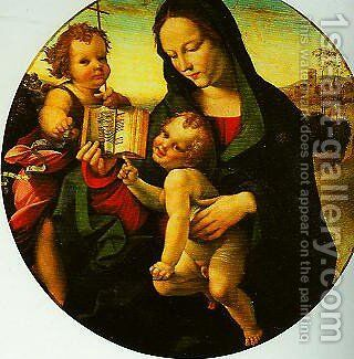 Madonna and child with the Young St John by Girolamo Del Pacchia - Reproduction Oil Painting