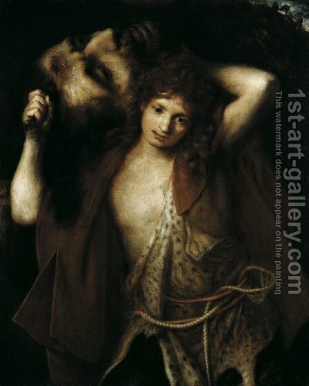 David with the Head of Goliath c 1670 by Girolamo Forabosco - Reproduction Oil Painting