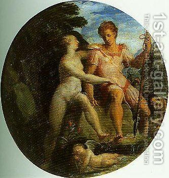 Venus and Adonis by Girolamo Del Crocifissaio (see Macchietti) - Reproduction Oil Painting