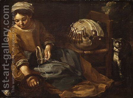 The Lacemaker by Bernhard Keil - Reproduction Oil Painting