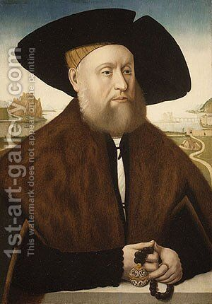 Portrait of a Member of the vom Rhein Family late 1520s by Conrad Faber von Creuznach - Reproduction Oil Painting