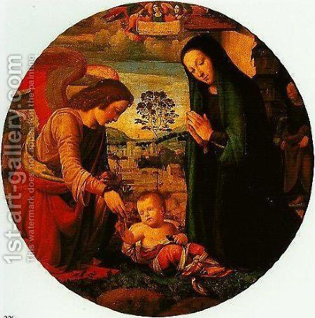 The Adoration of the Child with an Angel by dei Fiori (Nuzzi) Mario - Reproduction Oil Painting