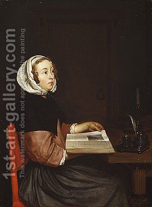 The Reader by Eglon van der Neer - Reproduction Oil Painting