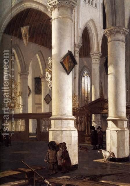 Interior of the Oude Kerk, Delft 1650-52 by Emanuel de Witte - Reproduction Oil Painting