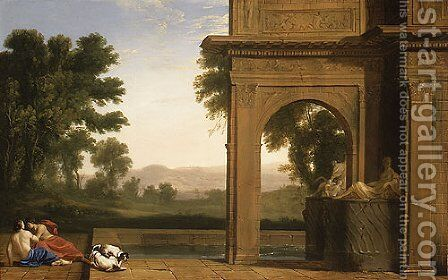 Classical Landscape with Figures by Henri Mauperche - Reproduction Oil Painting