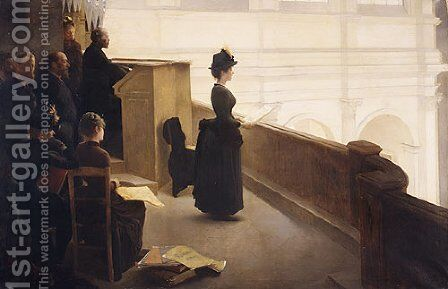 At the Organ by Henri Lerolle - Reproduction Oil Painting