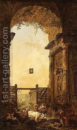 The Return of the Cattle by Hubert Robert - Reproduction Oil Painting