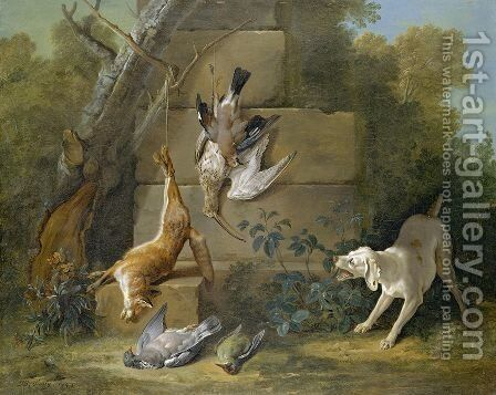 Dog Guarding Dead Game 1753 by Jean-Baptiste Oudry - Reproduction Oil Painting