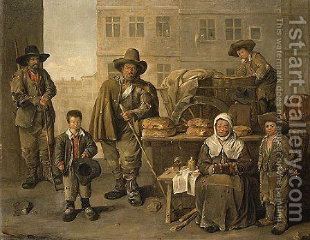The Bakers Cart 1656 by Jean Michelin - Reproduction Oil Painting
