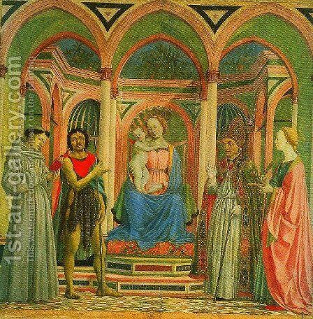 Madonna and Child Enthroned with SS Francis John the baptist Zenobius and Lucy by Domenico Veneziano - Reproduction Oil Painting