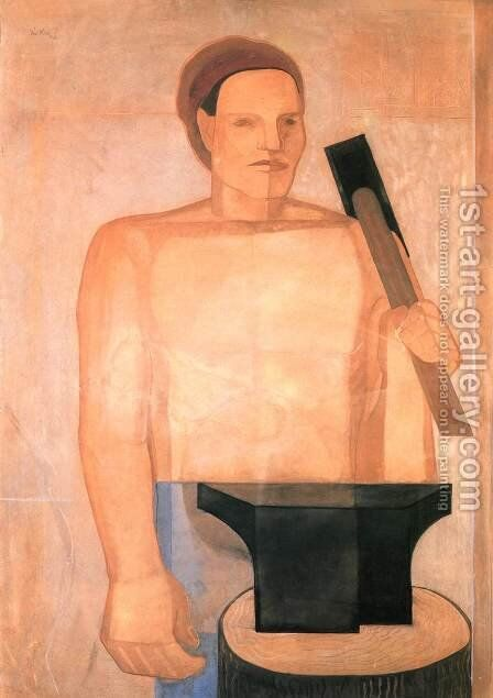 Ironworker 1931 by Imre Nagy - Reproduction Oil Painting