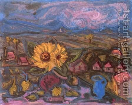 Sunflower 1937 by Imre Nagy - Reproduction Oil Painting