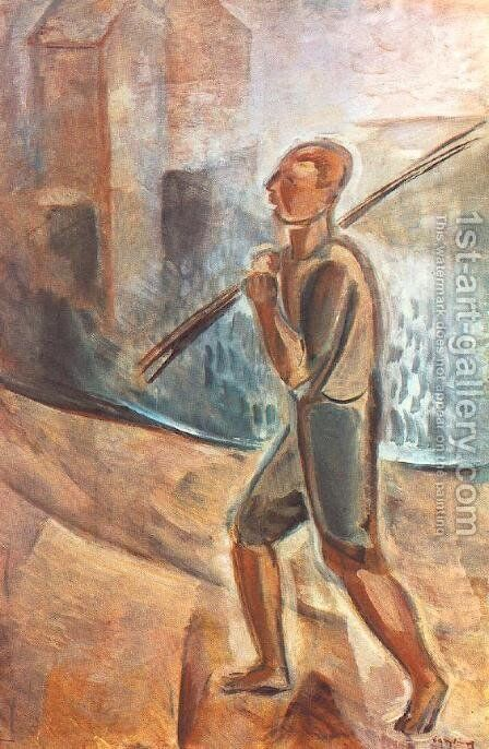 Fisherman at Lake Balaton 1937-38 by Jeno Gadanyi - Reproduction Oil Painting