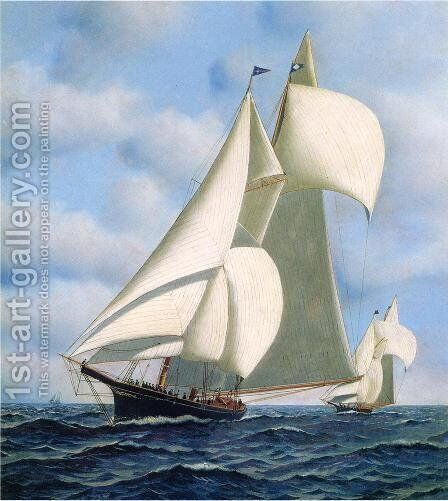 Sappho vs. Livonia, Americas Cup, 1871 Date unknown by Antonio Jacobsen - Reproduction Oil Painting