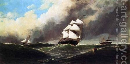 Stormy Seas 1886 by Antonio Jacobsen - Reproduction Oil Painting