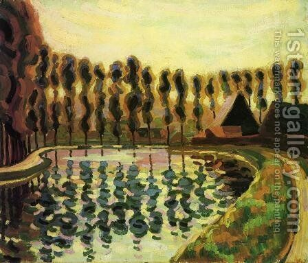 Landscape with Poplars 1907 by Armand Schonberger - Reproduction Oil Painting