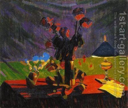 Still Life with Lamp 1905 by Armand Schonberger - Reproduction Oil Painting