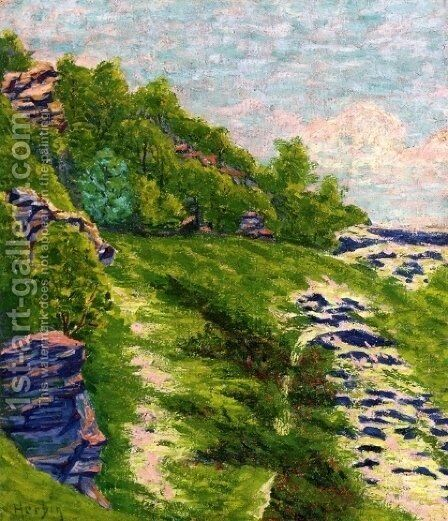 Wooded Coast a Roche Goyon 1906 by Armand Schonberger - Reproduction Oil Painting