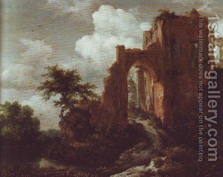 A ruined entrance gate of brederode castle by Jacob Van Ruisdael - Reproduction Oil Painting
