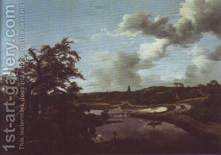 Banks of a river by Jacob Van Ruisdael - Reproduction Oil Painting