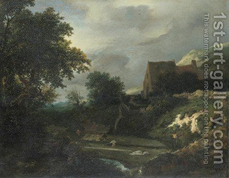 Bleaching ground in a hollow by a cottage by Jacob Van Ruisdael - Reproduction Oil Painting
