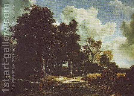 Edge of a forest with a grainfield by Jacob Van Ruisdael - Reproduction Oil Painting