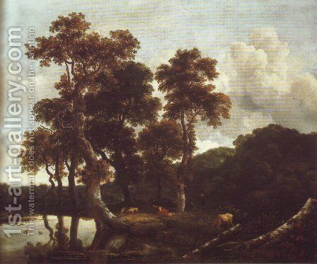 Grove of large oak trees at the edge of a pond by Jacob Van Ruisdael - Reproduction Oil Painting