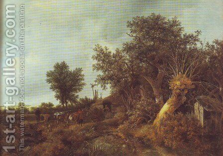 Landscape with a cottage and trees by Jacob Van Ruisdael - Reproduction Oil Painting