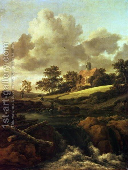 Landscape with a stream by Jacob Van Ruisdael - Reproduction Oil Painting