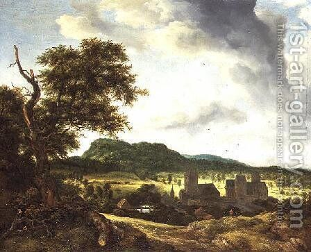 Landscape with a Village 1650 55 by Jacob Van Ruisdael - Reproduction Oil Painting