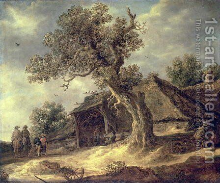 Landscape with an Oak 1634 by Jacob Van Ruisdael - Reproduction Oil Painting
