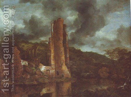 Landscape with the ruins of egmond castle at egmond aan den hoef by Jacob Van Ruisdael - Reproduction Oil Painting