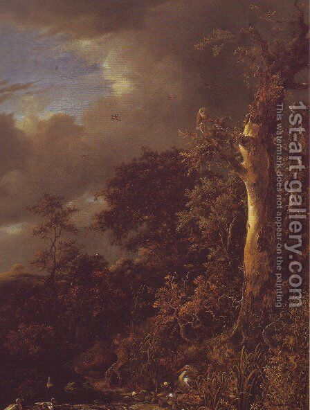Oak tree and dense shrubbery at the edge of a pond by Jacob Van Ruisdael - Reproduction Oil Painting