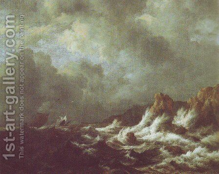 Rough sea with sailing vessels off a rocky coast by Jacob Van Ruisdael - Reproduction Oil Painting